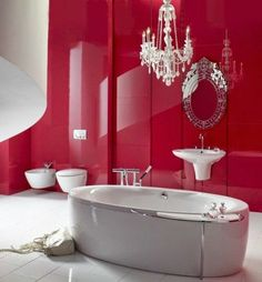 Fancy Red Wall Tiles For Bathroom Design With Marble White Bath Tub