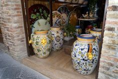 Picture of Traditional Pottery in San Gimignano Tuscany Italy stock photo, images and stock photography. Tuscany Italy, Front Entry, Mediterranean Style, Kitchen Interior, Ceramic Pottery, Pots, San, Interiors, Ceramics
