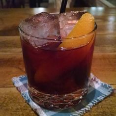 Down for the Count, a #Negroni crossed with a #rememberthemaine for Cherry Heering week's drink of the day tonight. 1 oz @berkshiremtdist Greylock #Gin, 1 oz Punt e Mes, 1/2 oz @cherryheering, 1/2 oz @campariamerica @campariofficial #campari, 10 drops @stgeorgespirits #absinthe, 1 dash Angostura Bitters. Build in a rocks glass, add ice, stir to mix and chill, garnish with an orange twist, and add straws. #countcamillo #camillonegroni #drinkitalian #loyalnine #eastcambridge #igcambridge…