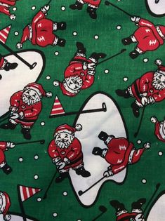 Santa/'s List Jingle Bells Christmas Holiday Bell Green Cotton Fabric by the Yard