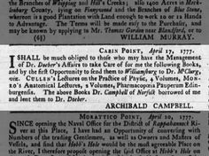 Dr. Campbell of Norfolk borrowed books from Archibald Campbell