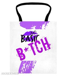 """💜 """"No Basic"""" White Tote 