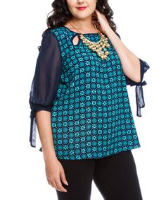 This Navy & Turquoise Abstract Cutout Top - Plus is perfect! #zulilyfinds