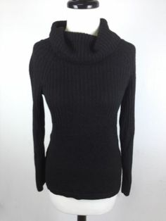 Ann Taylor Sweater Wool Blend Black Turtleneck Luxury Ribbed Womens Knit S | eBay