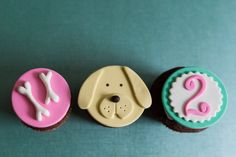 Puppy Dog Bone and Age Fondant Cupcake by parkersflourpatch