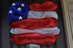 Fourth of July, USA Flag Wreath made from Deco Mesh