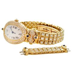 Cartier Lady's Yellow Gold and Diamond Baignoire Bracelet Watch