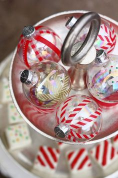 DIY clear ornaments with Japanese washi tape. By Christine of Pure Joy Events via thesweetestoccasion blog.