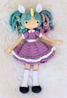 Zoe the Unicorn Girl Crochet Doll Pattern / Amigurumi / Photo Tutorial by SleepySheepPatterns on Etsy https://www.etsy.com/listing/526338658/zoe-the-unicorn-girl-crochet-doll