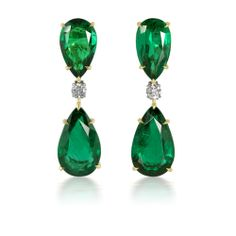 Want to look like a star? 20.74 Carat Natural Emerald and Diamond Earrings in 18K Yellow Gold and Platinum - almost 21 carats of emeralds!!! PS -Mila Kunis wore these!