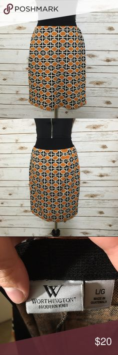 Modern deco skirt Knit deco pattern skirt, all stretch with an elastic waist band. Good used condition, no stains or tears. Worthington Skirts Midi