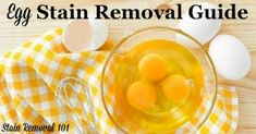 Egg stain removal guide Salted Or Unsalted Butter, Carpet Stains, Step By Step Instructions, Clean House, Eggs, Cleaning, Upholstery, Remove Stains, Floor