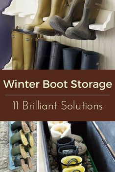 Whether you love or loathe winter, bulky boots are a fact of life when the weather turns cold. Keep from tracking mud and snow through front halls and mudrooms with these creative boot storage ideas to suit families of all sizes and homes of styles. Boot Storage, Closet Storage, Shoe Closet, Boot Organization, Organizing Ideas, Mud Boots, Outside Storage, Entryway Storage, Basement Storage
