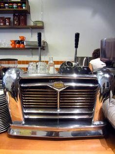 Antique lever espresso machine at Palomino Espresso, Sydney