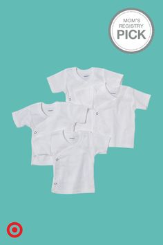 The perfect basics for your baby (and your baby registry)—Gerber Baby 4-pk. Short-sleeve Side-snap Shirts. These adorable must-haves are comfortable and soft next to Baby's skin, plus the side snaps make them a great layering piece for no-fuss dressing.