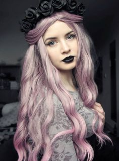 hair cute purple hair cute girl pink hair curly hair colored hair ...