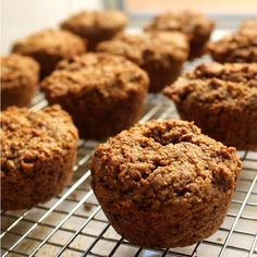 Bran muffins that actually taste good! These muffins are made with coconut oil to bring extra goodness to the usually dull bran muffin. Stay At Home Chef, All Bran, Bran Muffins, Oatmeal Muffins, Tasty, Yummy Food, Yummy Yummy, Healthy Muffins, Recipe For 4