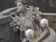 Mid Century Vintage  Silver Flower Rhinestone Filigree Earrings, Baroque Cream Freshwater Pearls, Sterling Silver, Classic, Bridal, Wedding by kalypsocreations on Etsy