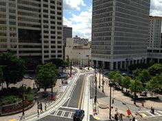 Woodruff Park and preparations for the Atlanta Streetcar, as seen from GSU's Aderhold.