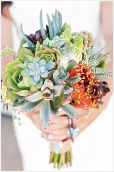 "Once you see a bouquet of succulents it's easy to say """"I do"""". Whether it's all succulents or succulents with mixed flowers it'll be a bouquet to remember. Bouquet Bride, Wedding Bouquets, Dress Wedding, Non Flower Bouquets, Bouquet Flowers, Table Flowers, Floral Wedding, Wedding Colors, Wedding Flowers"