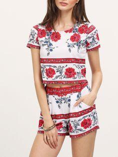 Shorts con top florales dos piezas-Spanish SheIn(Sheinside)