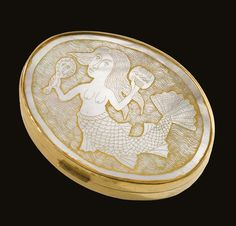 "Line Vautrin ""LA SIRÈNE DYNAMIQUE"" COMPACT impressed LINE/VAUTRIN gilt bronze, cream mother-of-pearl with an engraved mermaid and mirrored glass 3/4 x 3 3/8 x 2 5/8 in. (1.9 x 8.6 x 6.7 cm) circa 1950"