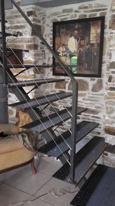 Steel Stairs, Wood Stairs, House Staircase, Staircase Design, Exterior Stairs, Interior And Exterior, Design Garage, House Design, Wrought Iron Security Doors