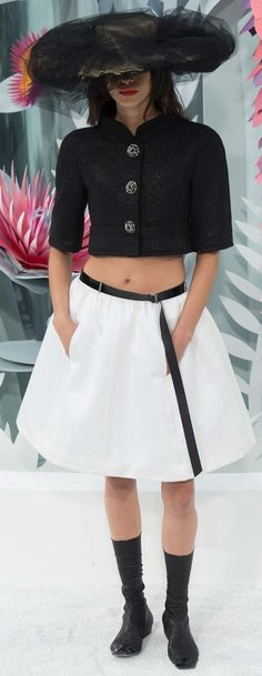 Chanel ~ Couture Spring Black Cropped Jacket w Dropped Waist Midi Skirt 2015