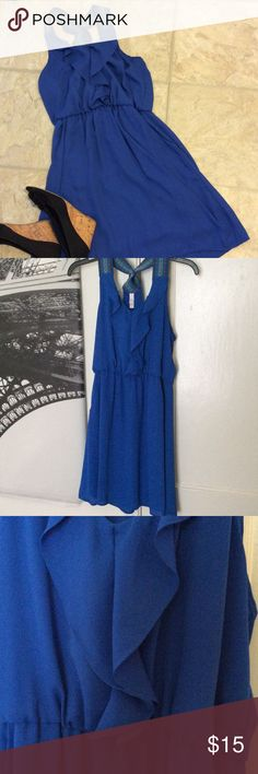 Cobalt Blue Ruffle Dress with Pockets A sleek choice! Pairs well with wedges! And it has pockets! Perfect condition! Make it yours! 💖😍🌺 Dresses