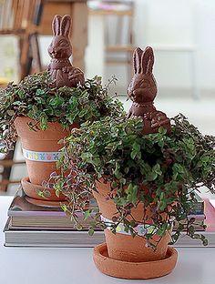 Na saída do almoço de Páscoa, uma lembrancinha especial: vasos de barro com tostão vêm com coelhos de chocolate no centro