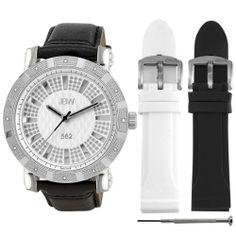 JBW Men's JB-6225-B.2bandset 562 Pave Dial Diamond Set Watch
