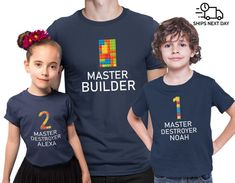 Your place to buy and sell all things handmade Lego Shirts, Noah, Brick Building, Lego Brick, Kids Shorts, Personalized T Shirts, Father And Son, Kid Names