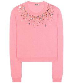 Pink embellished cashmere sweater