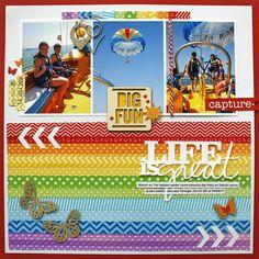 creating {non}sense: Doodlebug and Bella Blvd Rainbow Layouts - Scrapbook Magazine UK #82