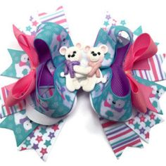 Winter Teddy Bears, Dog collar bow, dog bow, Coffee with Mommy, Doughnut dog bow, boutique dog bow