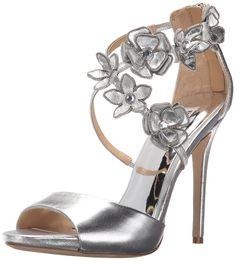 Badgley Mischka Women's Langley Dress Sandal, Silver, 5.5 M US. Bridal. Special occasion. Evening.