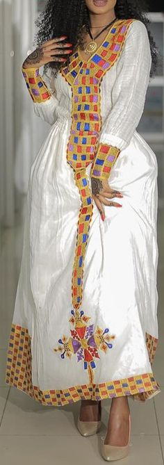 Habesha Kemis, Eritrean, Ethiopian Traditional Dress, Traditional Dresses, Ethiopian Dress, African Fashion, African Style, Scarf Wrap, Fashion Dresses