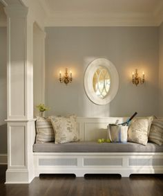 serene wall colors, grey walls, gray walls, entry bench, reading nooks, sitting areas, seating areas, window seats, entryway
