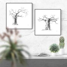 Black and white ink drawings of baobab trees your bedroom or living room. Visit my Etsy store to shop my range of wall art prints and print sets inspired by African nature. #etsy #DIY #livingroom #bedroom #ideas #simple #large #blackandwhite #joshua #desert #nature #prints #decor #bathroom #kitchen #minimalist #sets #minimal #modern #tree Grey Wall Art, Black And White Wall Art, White Ink, Wall Art Decor, Wall Art Prints, Artwork For Living Room, Baobab Tree, Plant Drawing, Ink Drawings