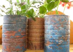 Print out a photo of rusty patina. Mod podge it to a can. Voila instant rust. Thanks Carolyn.