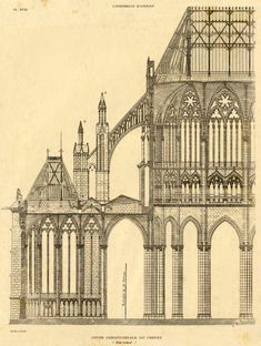 1872 Antique Print Of Gothic Architecture