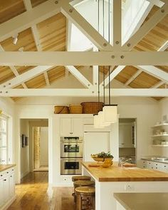 contemporary farmhouse kitchen with W truss. Make for our kitchen. House Design, House Interior, House, Home Kitchens, Home, Interior, Modern Farmhouse Kitchens, Kitchen Design, Contemporary Farmhouse