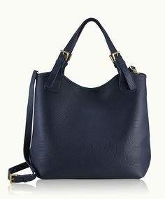 Navy Olivia Shopper | Pebble Grain Leather | GiGi New York