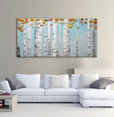 Original Abstract Birch in spring Texture Painting on by Artcoast