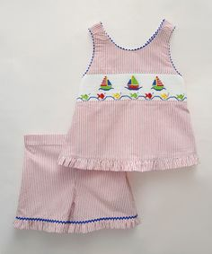Loving this Pink Sailing Smocked Top & Shorts - Infant, Toddler & Girls on #zulily! #zulilyfinds
