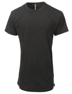 LE3NO PREMIUM Mens Oversized Longline Crewneck Solid T Shirt