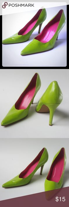 Chartreuse three-inch heels Chartreuse 3 inch heels, slightly worn size 7 and a half Colin Stuart Shoes Heels