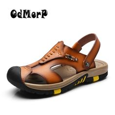 ODMORP New Summer Shoes Men s Leather Sandals Brown Casual Beach Sandals  Slippers Flat Fashion Design Sandals a736d9284762