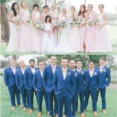 Blush wedding blue suits                                                       …