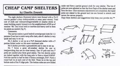 Cheap and Easy Camping, Hunting, Canoeing or Survival Tent Shelters all made with a 9' x 12' Canvas Drop Cloth or Nylon Tarp. Many thanks to BACKWOODSMAN MAGAZINE!!
